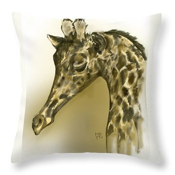 Giraffe Contemplation Throw Pillow