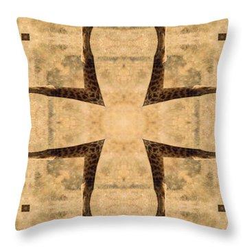 Giraffe Cross Throw Pillow by Maria Watt