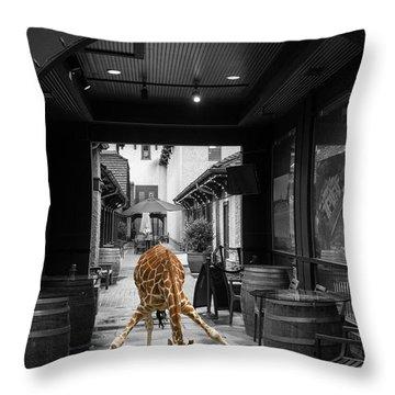 Giraffe Drinking Whiskey Series 4987y Throw Pillow