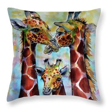 Giraffe Family Throw Pillow by Kovacs Anna Brigitta