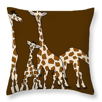 Giraffe Family Portrait Brown Background Throw Pillow by Rachel Lowry