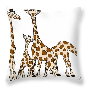 Giraffe Family Portrait In Brown And Beige Throw Pillow by Rachel Lowry