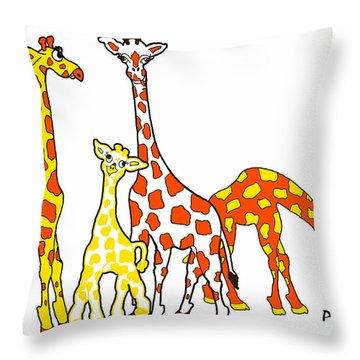 Giraffe Family Portrait In Orange And Yellow Throw Pillow by Rachel Lowry