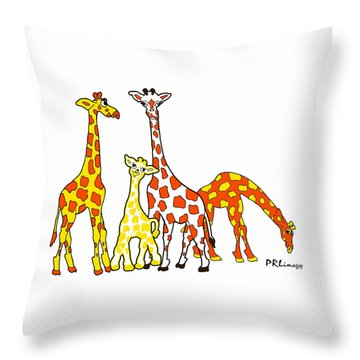 Giraffe Family Portrait In Orange And Yellow Throw Pillow