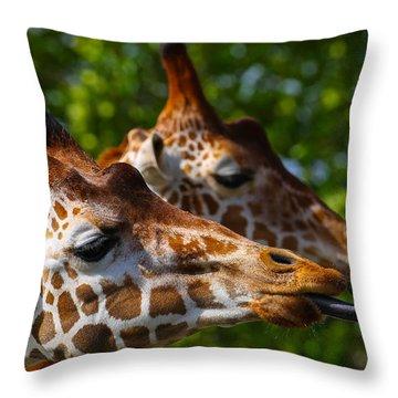 Giraffe Feeding Time Throw Pillow