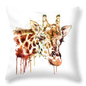 Giraffe Head Throw Pillow by Marian Voicu