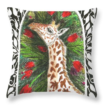 Giraffe In Archway Throw Pillow