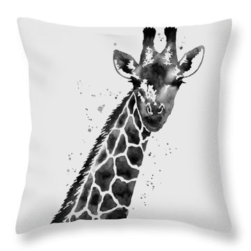 Giraffe In Black And White Throw Pillow by Hailey E Herrera