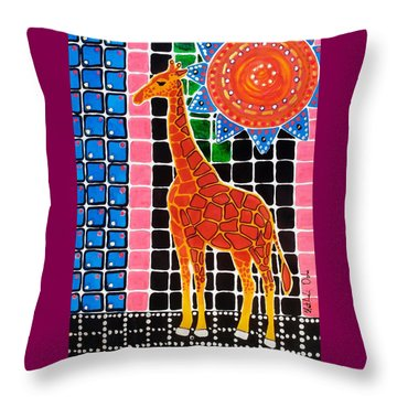 Throw Pillow featuring the painting Giraffe In The Bathroom - Art By Dora Hathazi Mendes by Dora Hathazi Mendes
