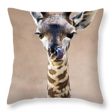 Giraffe Lick Throw Pillow by Lula Adams
