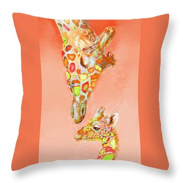 Giraffe Love- Orange Throw Pillow by Jane Schnetlage
