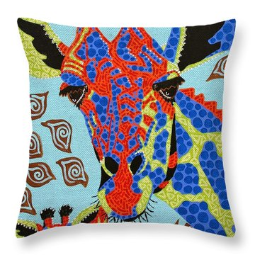 Giraffe Mom And Baby Throw Pillow