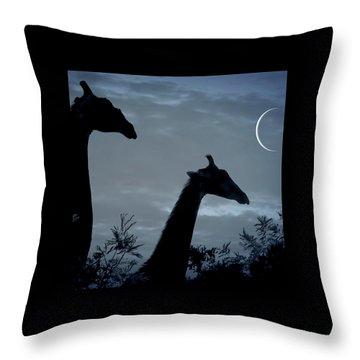 Giraffe Moon  Throw Pillow