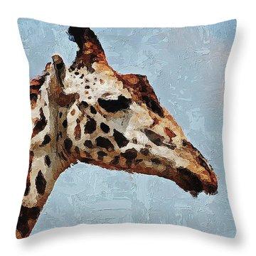 Throw Pillow featuring the digital art Giraffe Safari  by PixBreak Art