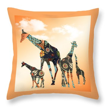 Giraffe Stroll Throw Pillow