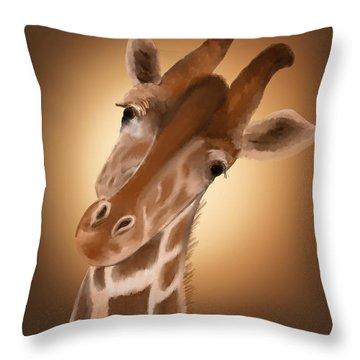 Giraffe Sunset Throw Pillow