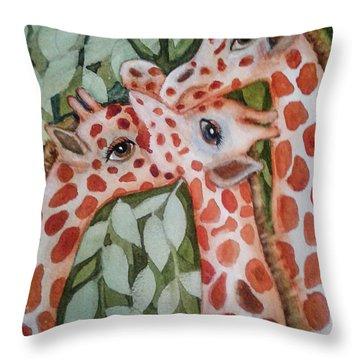 Giraffe Trio By Christine Lites Throw Pillow