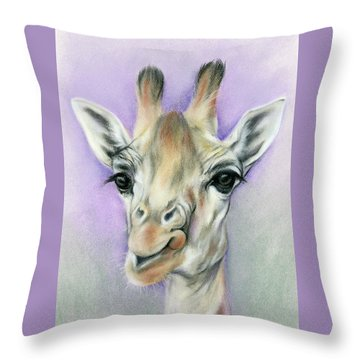 Giraffe With Beautiful Eyes Throw Pillow by MM Anderson
