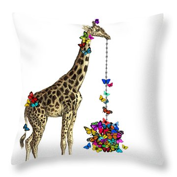 Giraffe With Colorful Rainbow Butterflies Throw Pillow