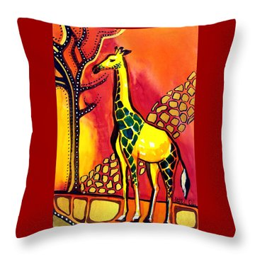 Giraffe With Fire  Throw Pillow