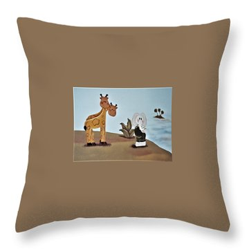 Giraffes, Elephants And Palm Trees Throw Pillow