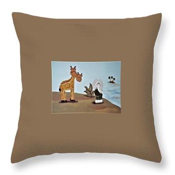 Giraffes, Elephants And Palm Trees Throw Pillow