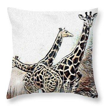 Throw Pillow featuring the digital art Giraffes by Pennie McCracken
