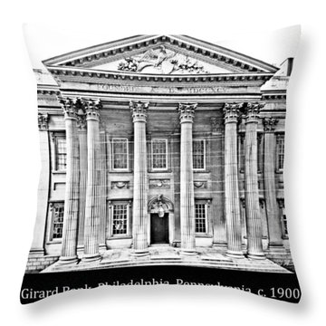 Throw Pillow featuring the photograph Girard Bank Building Philadelphia C 1900 Vintage Photograph by A Gurmankin