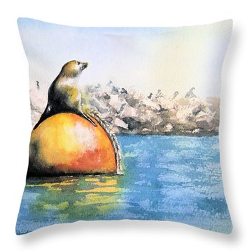 Girl And Buoy Throw Pillow