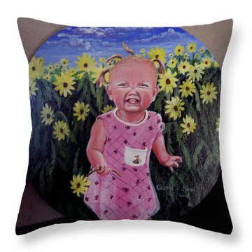 Girl And Daisies Throw Pillow