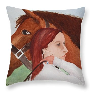 Girl And Her Horse Throw Pillow