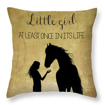 Girl And Horse Silhouette Throw Pillow