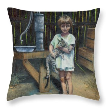 Throw Pillow featuring the painting Girl And Kitty by Jeanette French
