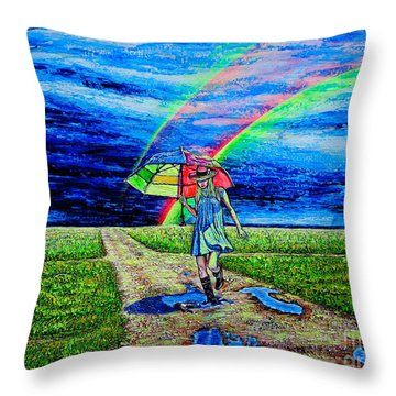 Throw Pillow featuring the painting Girl And Puddle by Viktor Lazarev