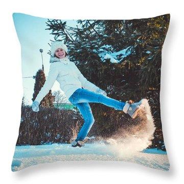 Girl And Snow Throw Pillow