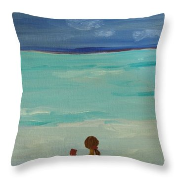 Girl And The Beach Throw Pillow