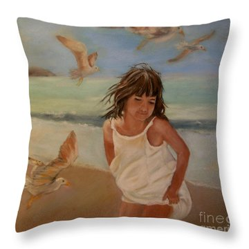 Girl And The Seagulls Throw Pillow