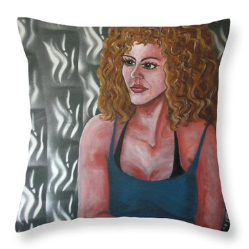 Girl And Tiles Throw Pillow