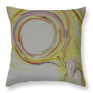 Girl And Universe Creative Connection Throw Pillow