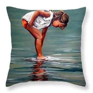 Girl At Shore  Throw Pillow