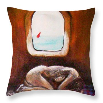 Throw Pillow featuring the painting Girl At The Beach by Winsome Gunning