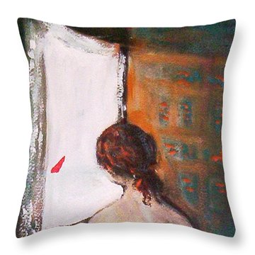 Girl At The Window Throw Pillow