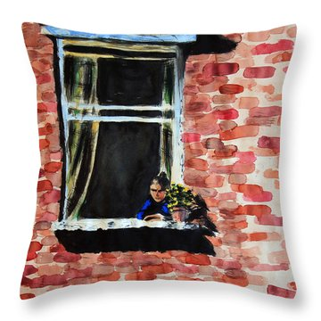 Girl At Window Throw Pillow