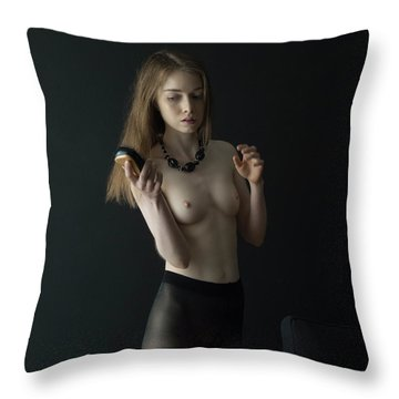 Girl Brushes Her Hair Throw Pillow