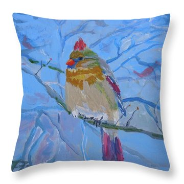 Throw Pillow featuring the painting Girl Cardinal by Francine Frank