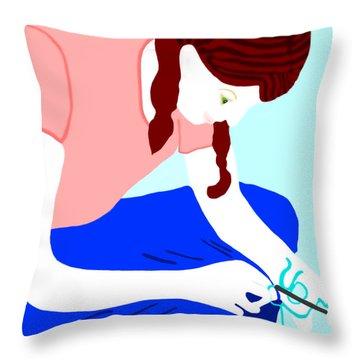 Girl Crocheting Throw Pillow