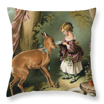 Girl Feeding A Deer Throw Pillow