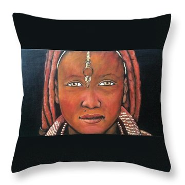 Girl From Africa Throw Pillow