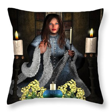 Girl Holding Candle Throw Pillow