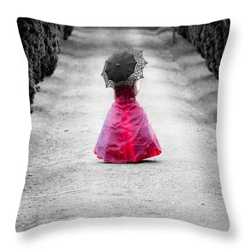 Girl In A Red Dress Throw Pillow by Helen Northcott